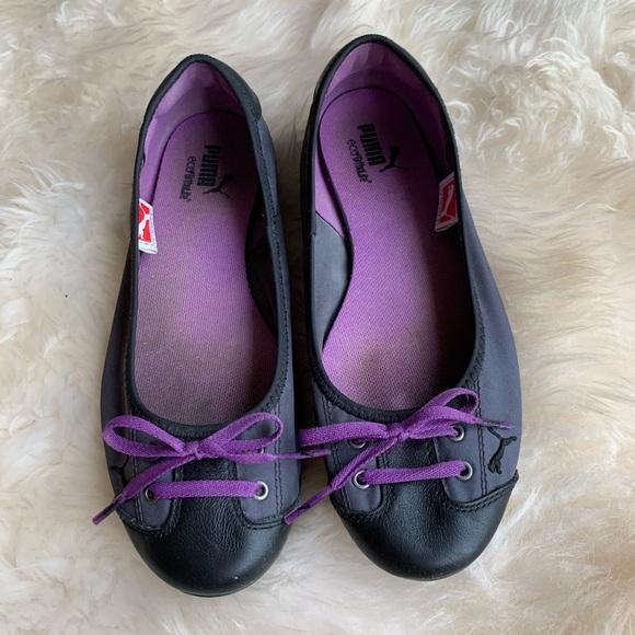 Puma Black Purple Sneaker Flats